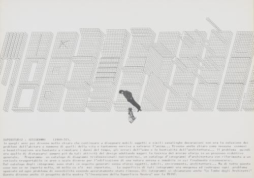 Superstudio Affiche avec les dessins axonométriques des Istogrammi, 1972 Coll. Frac Centre-Val de Loire