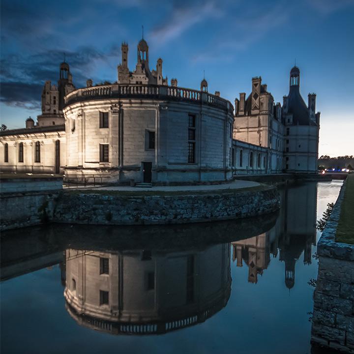 Vue arrière du château de Chambord